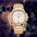 Replica Patek Philippe Ladies Nautilus Series rose gold diamond-studded replica watches  7118 / 1200R-001