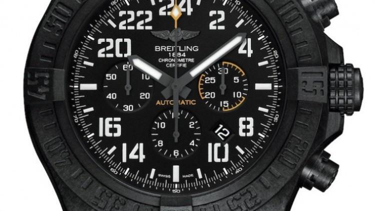 Black dial black steel case breitling avenger hurricane replica watch