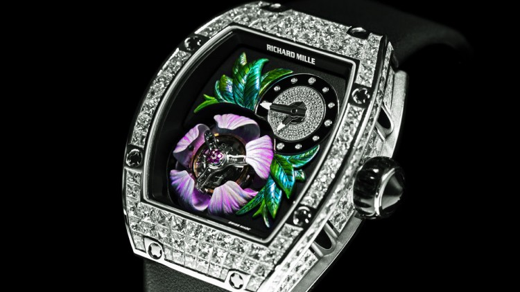 White Gold Richard Mille RM 19-02 Tourbillon Fleur Diamonds Replica Watch