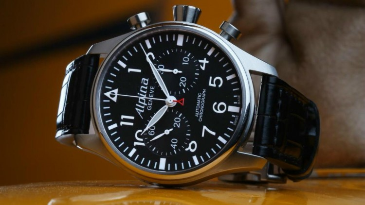 Black Dial Alpina Startimer Pilot Chronograph Replica Watch