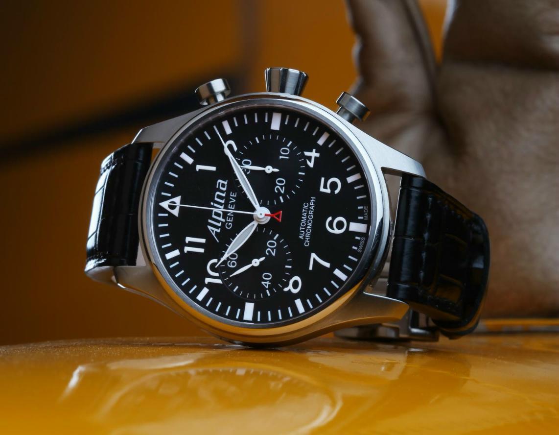 Black Dial Alpina Startimer Pilot Chronograph Replica Watch
