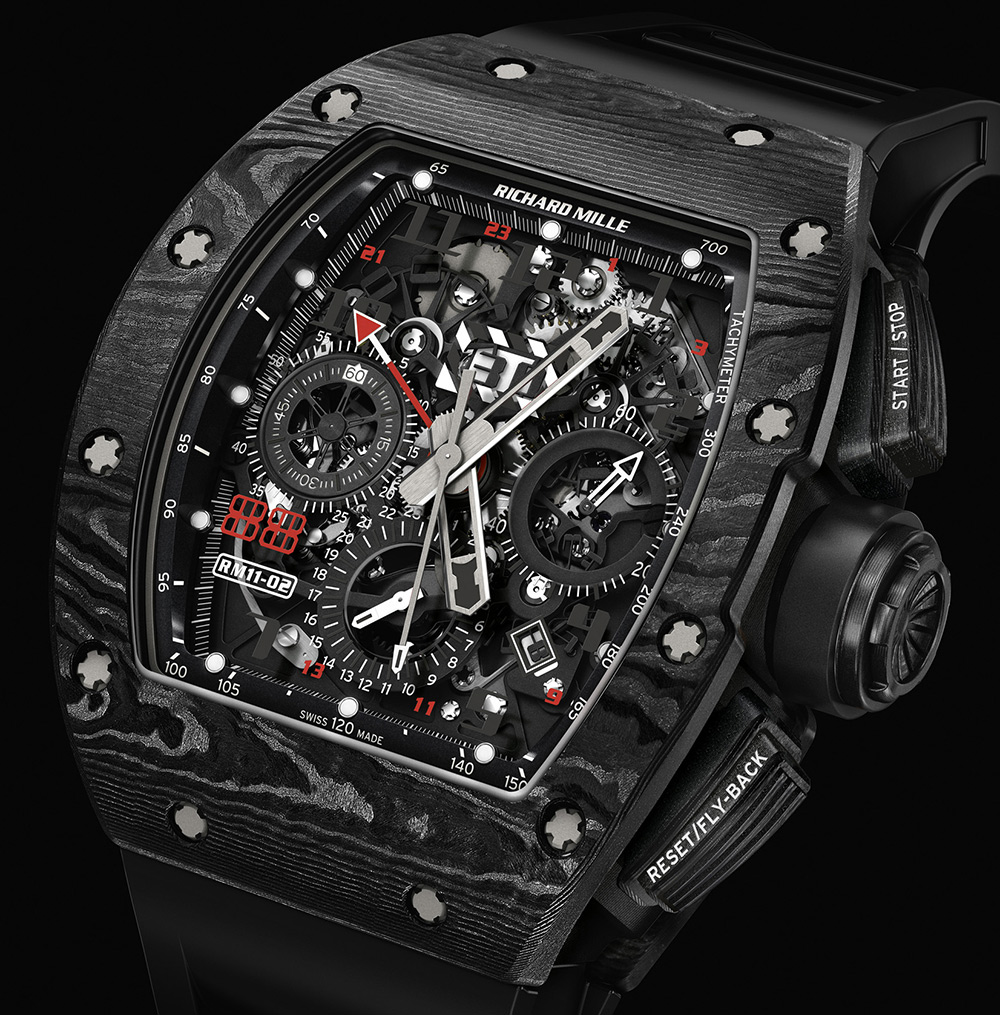 Richard Mille RM 11-02 Automatic Flyblack Chronograph Dual Time Zone Jet Black Limited Edition Replica Watch