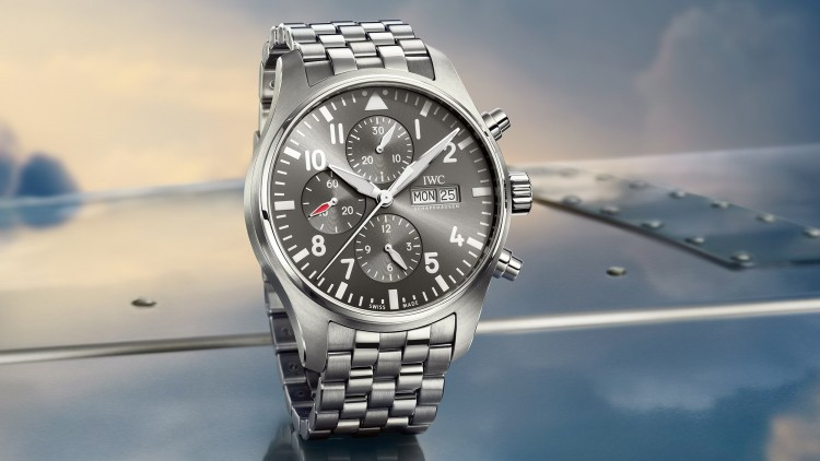 Replica IWC Pilot's Watch Chronograph Spitfire Grey Dial Steel Watch For Sale