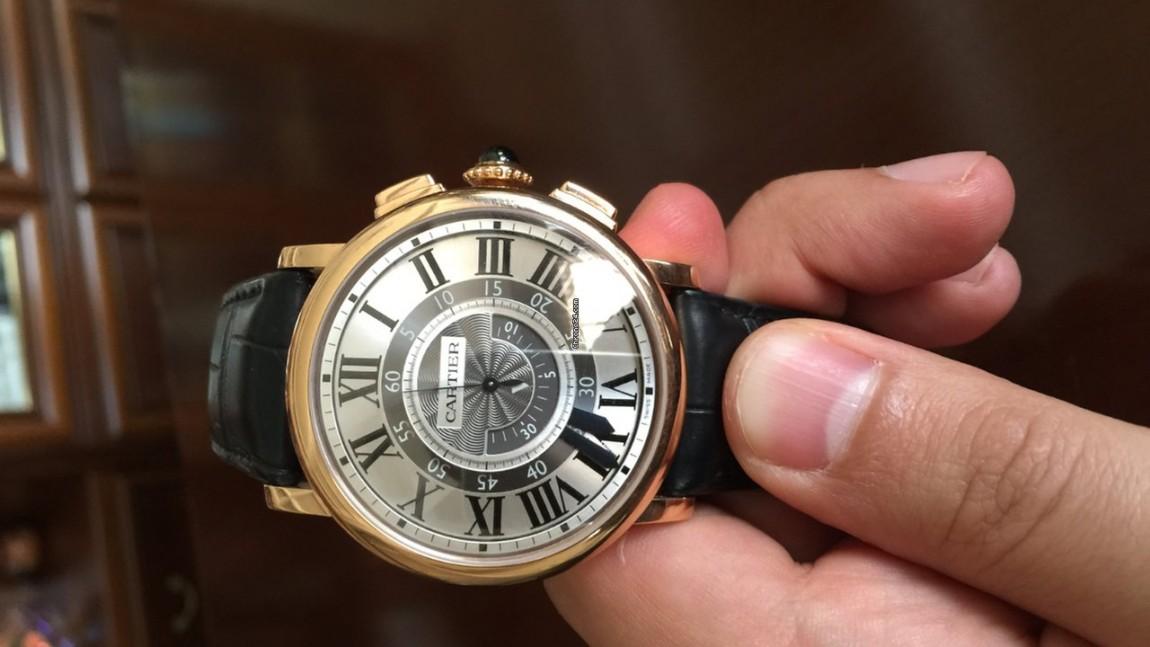 Pink gold cartier rotonde de cartier central chronograph 42mm replica watch
