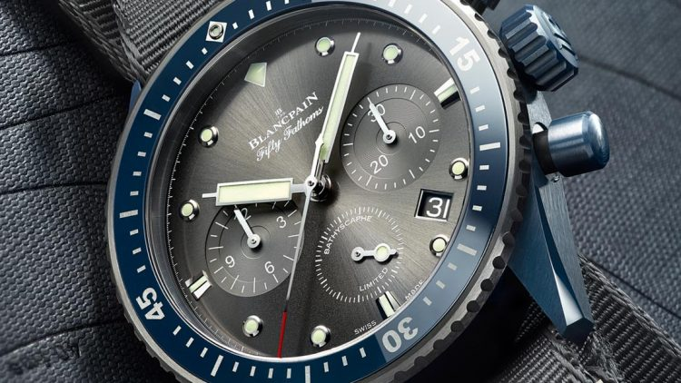 Replica Wholesale Blancpain Fifty Fathoms Bathyscaphe Flyback Chronograph Ocean Commitment II Watch Now In Blue Ceramic Case